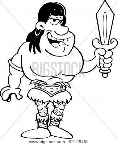 Cartoon barbarian holding a sword.
