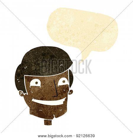 cartoon grinning man with speech bubble