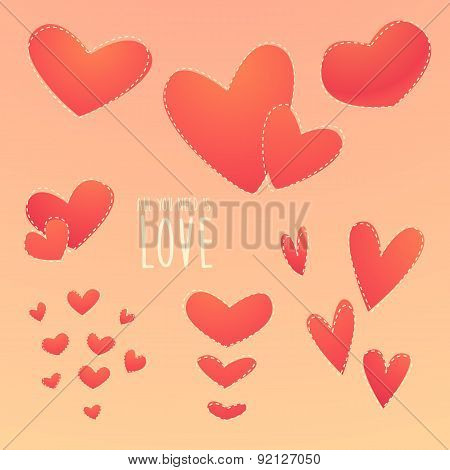 Romantic Set Beautiful Hearts Vector Illustration