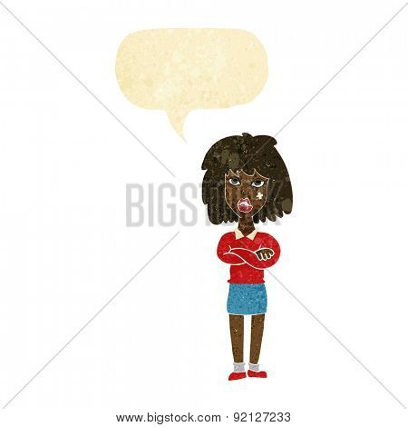 cartoon tough woman with folded arms with speech bubble