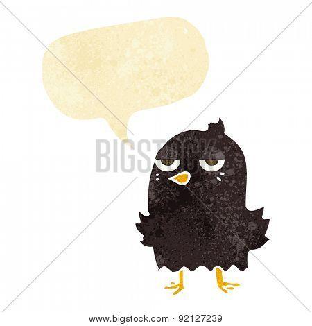 cartoon bored bird with speech bubble