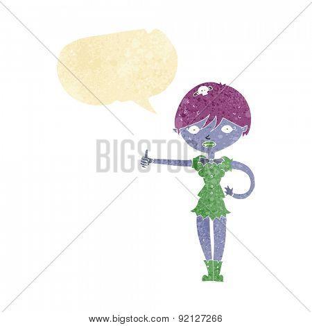 cartoon vampire girl giving thumbs up symbol with speech bubble