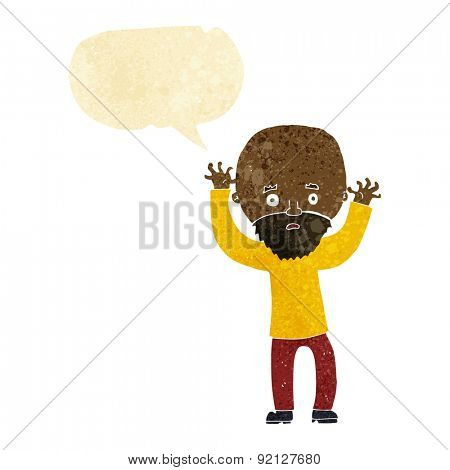 cartoon bearded man panicking with speech bubble