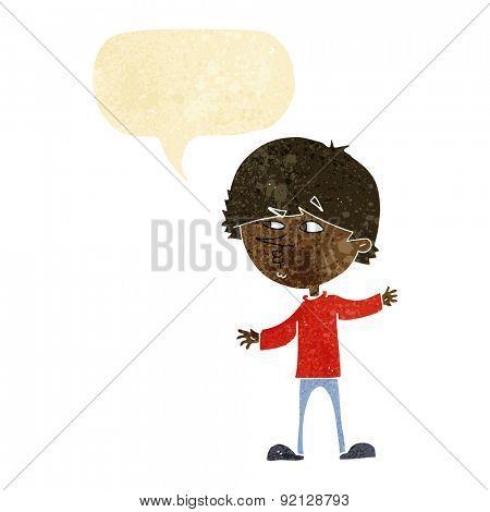 cartoon curious man with speech bubble