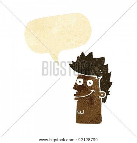 cartoon happy man face with speech bubble