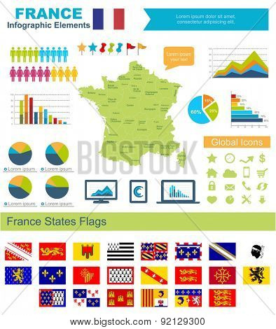 France Infographic Elements Include:High detailed map of France and complete provincial flags