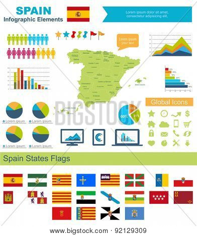 ISpain Infographic Elements Include:High detailed map of Spain and complete provincialflags