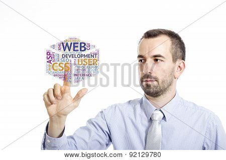 Young Businessman Touching
