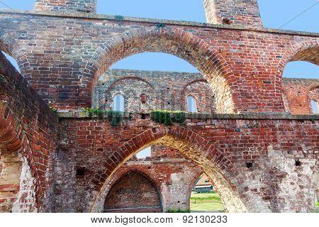 Arches Of Red Brick In A Ruin Of A Monastery Building, Northern Germany