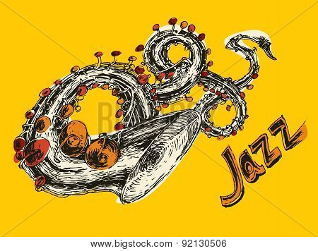 JAZZ Concept, Music Engraved, Hand Drawn, Sketch