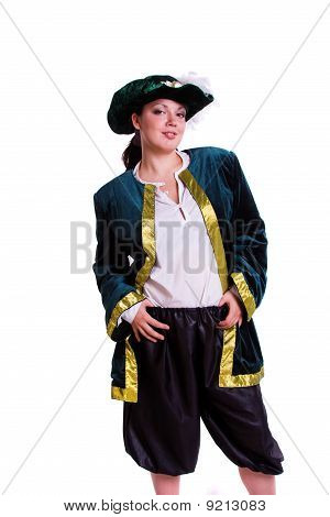 Woman in pirate costume.