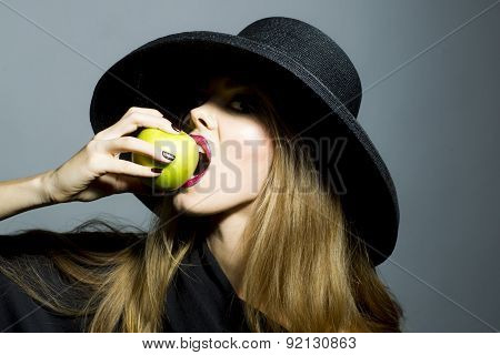 Pretty Blonde Girl With Apple
