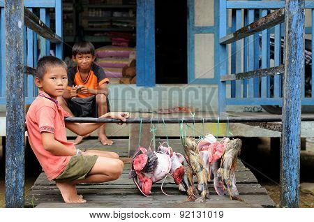 Young Boys Selling Fresh Fishes In Indonesia
