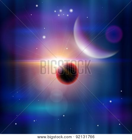 Magic Space - planets, stars and constellations, nebulae and galaxies, lights. Vector illustration / Eps10