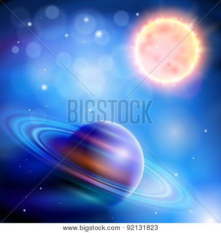 Magic Space - Planet with rings and a big star, stars and constellations, nebulae and galaxies, lights. Vector illustration / Eps10