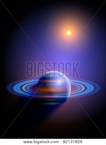 Magic Space - Blue Planet & Yellow Star. Vector illustration / Eps10