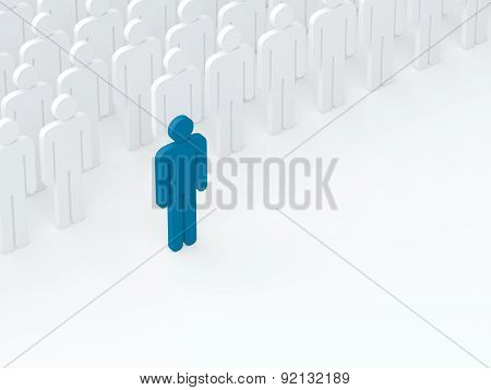 Leader Came Out From The Crowd (leadership Concept) (3D Render)
