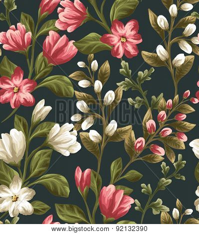 Floral seamless pattern with shite and red flowers on dark background in watercolor style