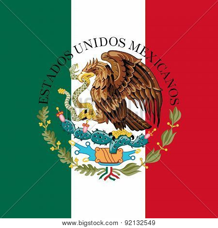 Mexican flag with coat of arms