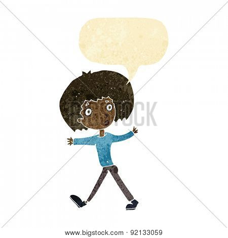 cartoon surprised man walking with speech bubble