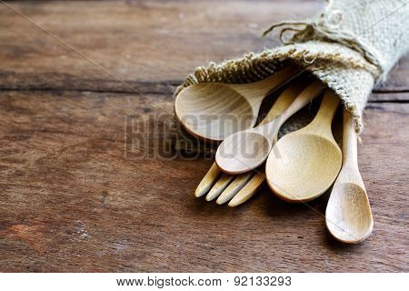Set Of Wood Spoon And Fork On Wooden Table