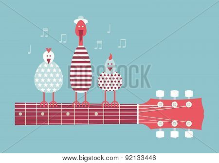 Birds On A Guitar Neck