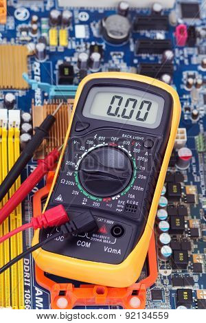 Multimeter And Motherboard