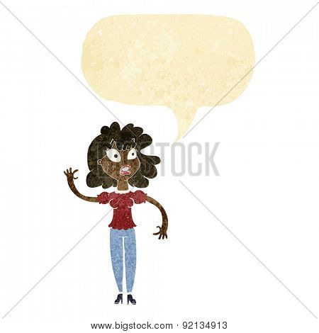 cartoon worried woman waving with speech bubble