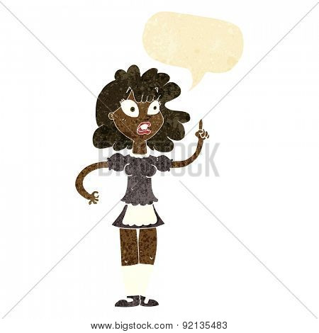 cartoon worried maid with speech bubble