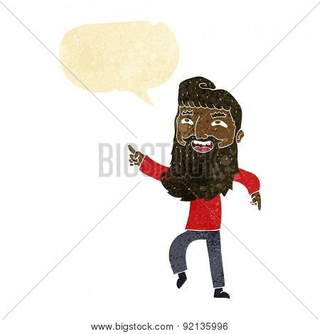 cartoon man with beard laughing and pointing with speech bubble
