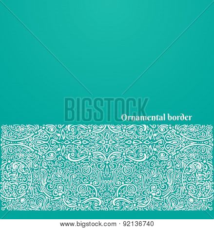 Vector Oriental Background With Ornate Border