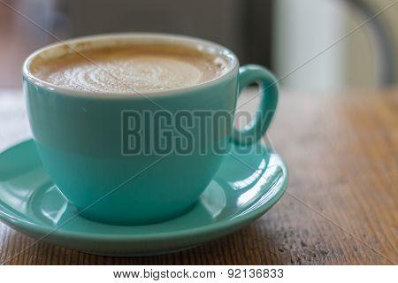 Latte in Blue Mug