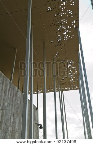 Amesbury, England - Circa May 2014: A Detailed View Of  The Perforated Metal Roof  And The Wooden St