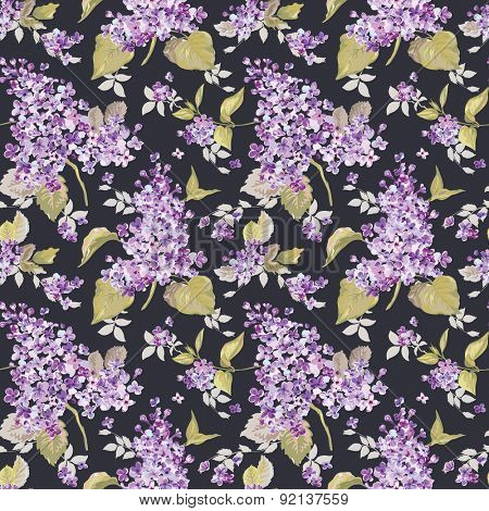 Vintage Floral Lilac Background - seamless pattern for design, print, scrapbook - in vector