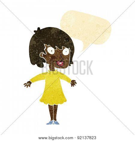 cartoon woman wearing dress with speech bubble