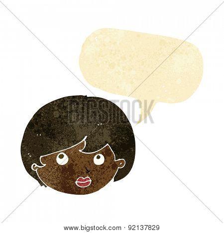 cartoon female face looking upwards with speech bubble