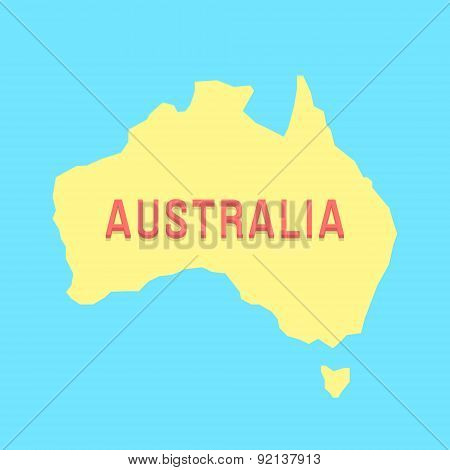 silhouette of Australia in yellow and blue colors