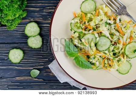 Cabbage Salad With Cucumber And Carrots