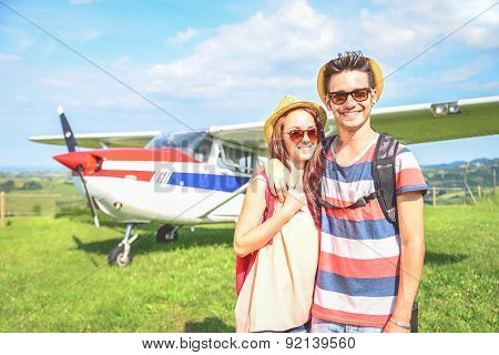Couple Go On Excursion With Airplane