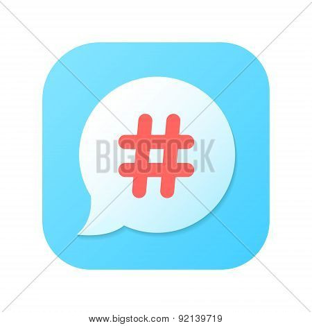 red hashtag icon on blue gradient speech bubble