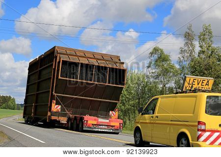 Exceptional Load Transport Along Highway