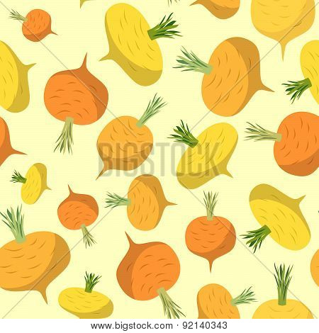 Background of yellow turnips. Vector seamless pattern of vegetables. Vector texture