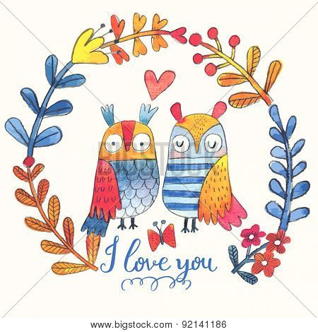Lovely vector card with sweet owls, butterfly and wreath made of leafs and flowers in awesome colors. Stunning romantic card made in watercolor technique. Bright concept background with text in vector