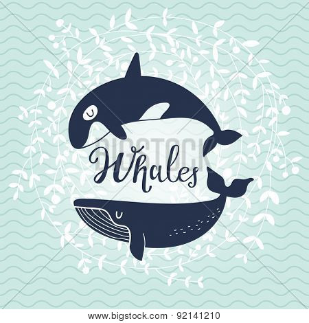 Stunning whale card. Awesome whales on stylish blue colored background with floral wreath in vector. Lovely childish card in stylish colors