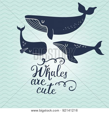 Whales are cute. Sweet whales on marine background with waves in vector. Lovely childish card in stylish colors