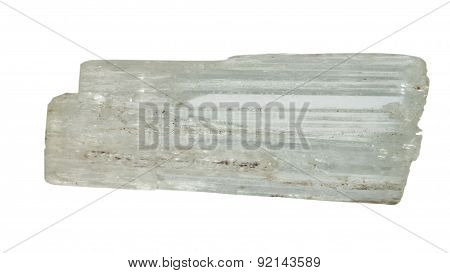 Clear Tourmaline Crystal Macro Isolated On White Backround
