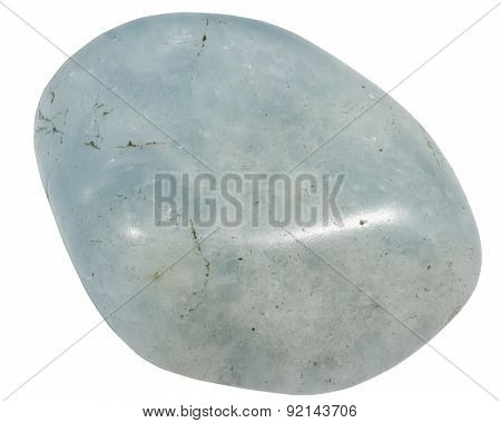 Blue Quartz Pebble Isolated On A White Background