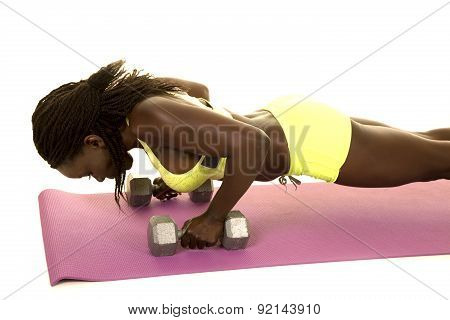 African American Woman Fitness Green Outfit Push Up On Weights Close
