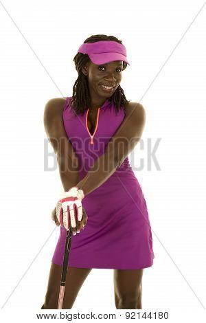 African American Woman Purple Golf Hands On Club