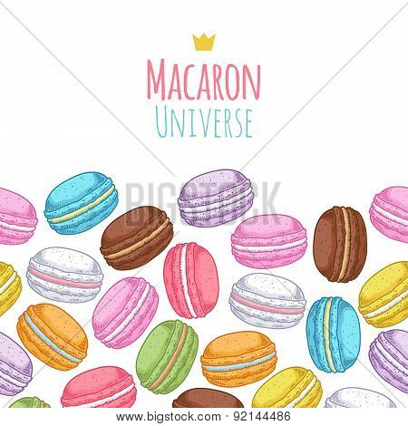 Seamless assorted macarons horiaontal pattern.